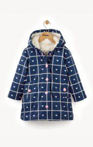 Hatley Navy Crosshatch Hearts Sherpa Lined Splash Jacket
