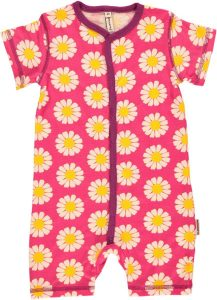 Maxomorra Daisy Print Short Sleeve Pink Rompersuit Age 2 Years (92cm)