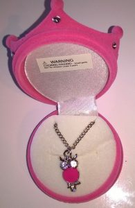 Necklace in Princess Velour Crown Box – Pink Owl Pendant