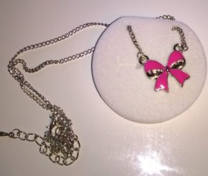 Necklace in Princess Velour Crown Box – Pink Bow Pendant