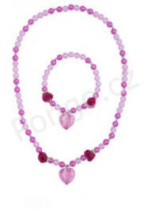 Pink Poppy D Heart and Rose Necklace and Bracelet Set