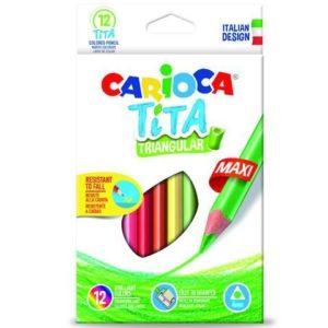 Carioca Tita Triangular Maxi Pack of 12 Coloured Pencils