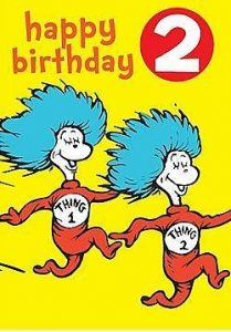 Hype Dr Seuss Thing 1 & 2 Happy Birthday Badge Card Age 2