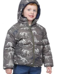 Hatley Boys Reversible Winter Puffer Jacket – Dino Bones Blue Lining – 2 Years