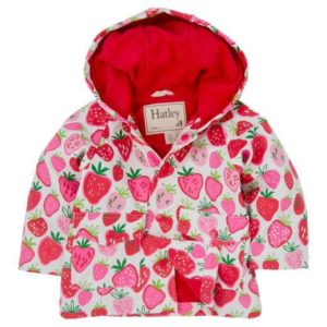 Hatley White Strawberry Sundae Infant Raincoat