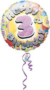 Amscan Happy 3rd Birthday Cmolographic Foil Balloon