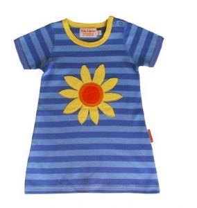 Toby Tiger Baby Girl's Short Sleeve Sunflower Applique T-shirt Dress Blue 5 – 6 Years