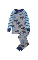 Hatley Grey Blue Moose Organic Cotton Pyjamas