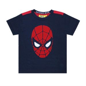 Fabric Flavours Navy Spiderman Applique T Shirt