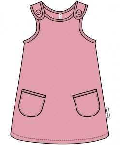 Maxomorra Pocket Pink Velour Pinafore Dress