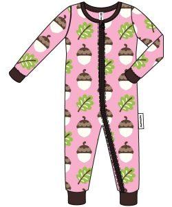 Maxomorra Pink Acorn Zip Rompersuit