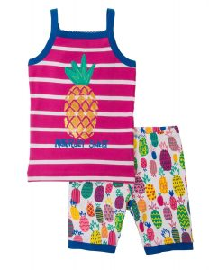 'NEW Hatley Tropical Pineapple Applique Short Tank Pyjama Set PJ Organic Cotton'