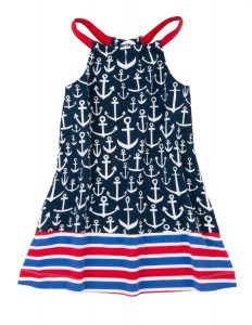 Hatley Navy/Red Anchor Print Bow Back Sun Dress