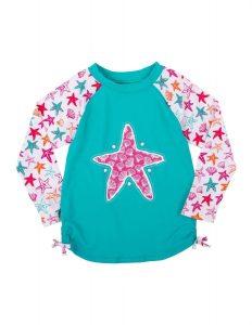 'NEW Hatley Turquoise Star Fish Rash Guard Top Swimwear UPF 50+ Sun Protection '