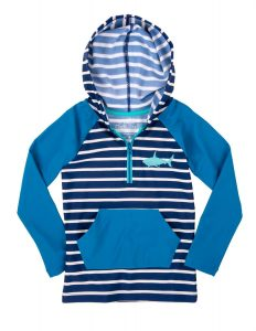'NEW Hatley Blue Toothy Shark Hooded Rashguard Top Swim UPF 50+ Sun Protection '