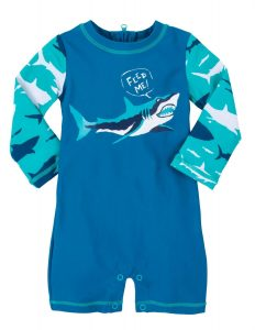 'NEW Hatley Blue Toothy Shark Baby Rash Guard Swimsuit UPF 50+ Sun Protection '