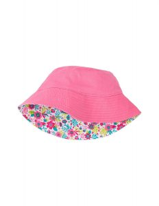 'NEW Hatley Pink Wallpaper Flower Print Reversible Cotton Sun Hat BNWT'