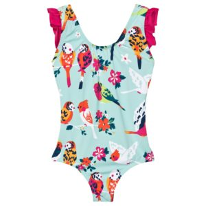 Hatley Aqua Tropical Birds SPF50 Holiday Bow Back Swimsuit'