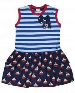 Lilly and Sid Navy Rara Hem Dress with Boats and Stripes Print
