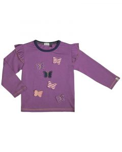 NEW Lilly and Sid BNWT Girls Designer Purple 3D Butterfly Frill Sleeve Top