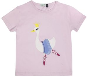 Lilly and Sid Odette Applique Swan Short Sleeve Top