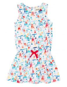 Hatley White Sundrenched Sailboats Flounce Skirt Tank Dress