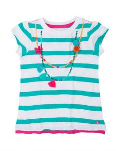 'NEW Hatley Shell Necklace Sequin Short Sleeve Graphic Applique Tee Top BNWT'