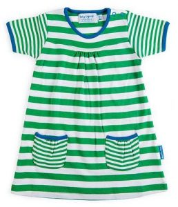 'Fabulous Toby Tiger Organic Cotton Jersey Green Stripe Dress'
