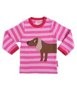 Toby Tiger Dog Applique Stripey Girl's Long Sleeve T-Shirt Dark/Pale Pink
