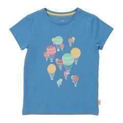 Kite Blue Balloons Organic Cotton Girls Short Sleeve Top