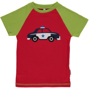 Maxomorra Red Police Car Solid Print Short Sleeve Top