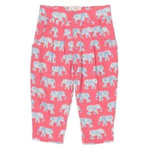 Kite Coral Pink Elephant Print Short Genie Pants