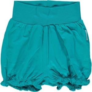 'NEW Maxomorra Basic Turquoise Rib Balloon Shorts Organic Cotton BNWT '