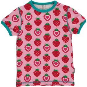 'NEW Maxomorra Pink Strawberry Short Sleeve Top T-Shirt Tee Organic Cotton BNWT'