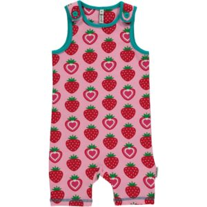 'NEW Maxomorra Pink Strawberry Short Playsuit Shortie Dungarees Organic Cotton'