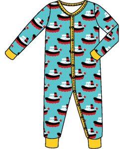 'NEW Maxomorra Blue Boat Long Sleeve Rompersuit Sleepsuit Babygrow Organic Cotton'