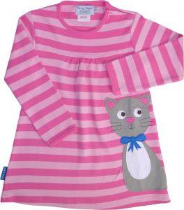 Toby Tiger Dark Pink Light Pink Stripe Cat Jersey Dress