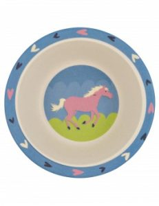 Little Blue House Horse Play Bamboo Bowl