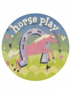Little Blue House Horse Play Bamboo Plate