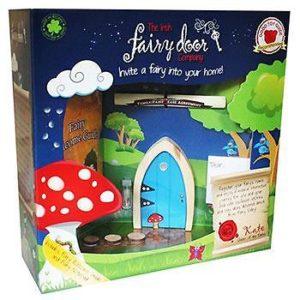 Irish Fairy Company Blue Arched Wooden Door Magical Key Indoor Outdoor Gift Set