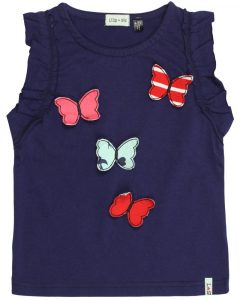 Lilly and Sid  Navy 3D Butterfly Frill Sleeveless Top