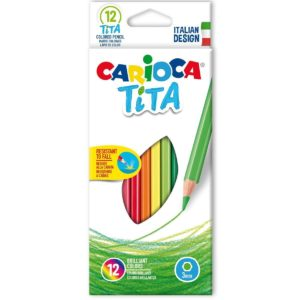 Carioca Tita Pack of 12 Coloured Pencils Arts Crafts Drawing Colouring