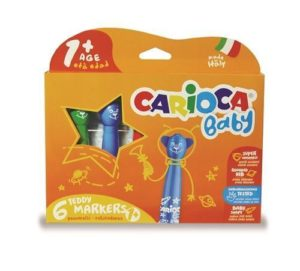 Carioca Baby 6 Teddy Markers  Arts Crafts Colouring Suitable Under 3 years