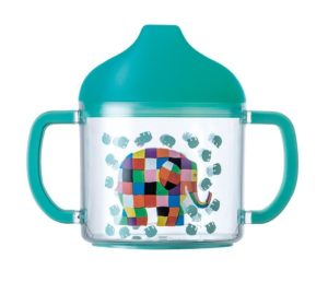 Petit Jour Paris Elmer the Elephant Baby Toddler First Feeding Cup New