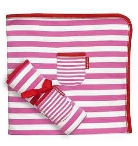 Toby Tiger Stripey Pink,White and Red Baby Blanket