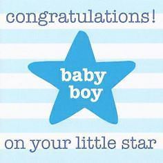 Toby Tiger Congratulations! Baby Boy On Your Little Star Card