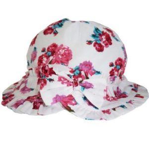 Girls Red Rose Floral Print Summer Hat With Bow By Powell Craft