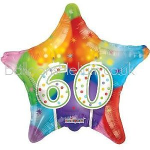 Kaleidoscope Brands 60th Birthday Star Foil Helium Balloon 18″