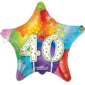 Kaleidoscope Brands 40th Birthday Star Foil Helium Balloon 18″