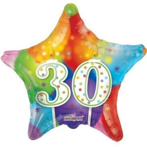 Kaleidoscope Brands 30th Birthday Star Foil Helium Balloon 18″